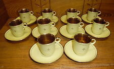 10 Upsala Ekeby Demitasse Cup & Saucer Sets - Yellow w/ Gold Interior -Some Wear