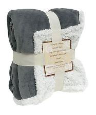 "Reversible Sherpa Microplush Throw Blanket 50""x 60"" Grey"