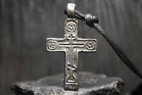 Antique Medieval Bronze Orthodox Cross, Christian Pendant, 13th-18th century AD
