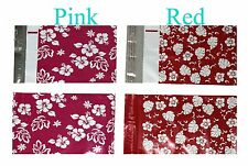 50 6x9 Red & Pink Flower Designer Mailers Poly Shipping Envelopes(25pcs/color)
