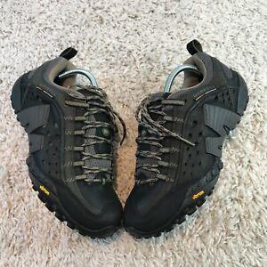 Merrell Intercept Mens Shoes UK 8 Eur 42 Black Leather Trainers