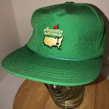 Vintage AUGUSTA NATIONAL 80s USA Green Hat Cap Strapback Rope DERBY Masters Golf