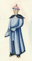 Chinese Early 20th Century Gouache - Man in a Blue Coat