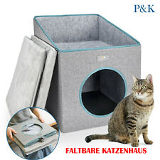 Faltbare Katzenhaus Katzennest Katzenhöhle mit Kissen Haustierhaus Grau EU