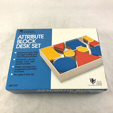 Learning Resources Attribute Block Desk Set in Plastic Storage Tray Logic Puzzle
