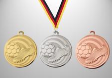100 Fußball Medaillen Ø 32mm  mit Halsband & Beschriftung, Kinder Bambini Jugend