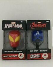 Marvel Iron SpiderMan CaptainAmerica🇺🇸Die-Cast Helmets SET Avengers