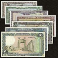 LEBANON SET 1 5 10 25 50 100 250 Livres 1980-1988 P-61 62 63 64 65 66 67 UNC