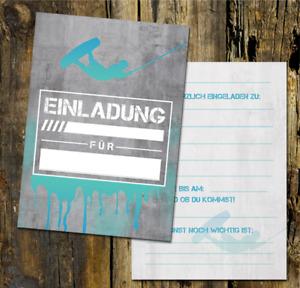 Wakeboard Einladungskarte, Einladungskarte Kindergeburtstag