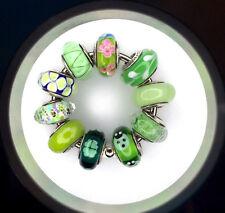 10 Pandora 925 ale silver beads charm glass murano green spring summer