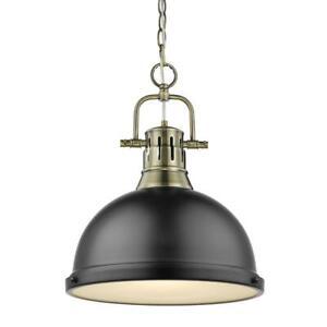 Golden Lighting Duncan 1-Light Aged Brass Pendant and Chain w/ Matte Black Shade