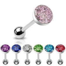 1 Ferido Sparkling Epoxy Dome Top Steel Tongue Barbell 14g 16mm -   #BS9