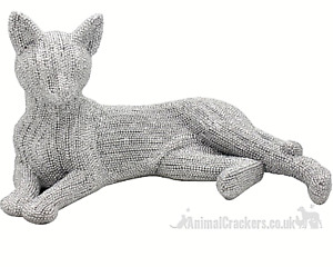 28cm Laying Cat ornament glitzy glitter silver diamante figurine cat lover gift