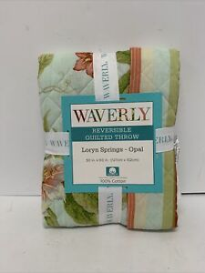 Waverly Reversible Quilted Throw Loryn Springs Opal New