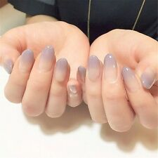 Classic Purple French False Nails 24 Pcs Full Cover Short Oval Nail Art Tip Gift
