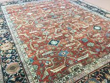 """Persian Oriental Area Rug Serapi Hand Knotted Wool Rust Navy Blue 8'.0"""" X 10'.1"""""""