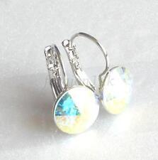 de mujer NUEVO 11mm Elemento Swarovski AB Cristal Pendientes Aro Baño Oro Blanco