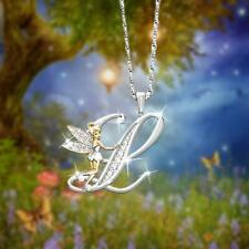 Lovely Crystal A-Z Letters Flower Fairy Necklace Sparkling Angel Wings Jewellery