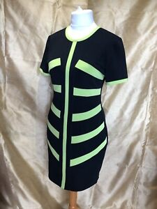 Joseph Ribkoff Black & Green Striped Stretchy Bodycon Dress Uk12 Immaculate