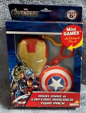 THE AVENGERS MINI GAMES IRON MAN & CAPTAIN AMERICA STORAGE CASE W/BACKPACK CLIP