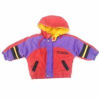 Vintage WEATHER TAMER Toddler Coat Color Block Puffy Jacket Hooded Infant 12-18M