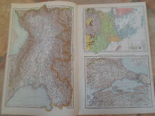 Old Maps ITALY N, ETHNOGRAPHIC BALKAN PENINSULA+MORE ~ From Universal Atlas 1893