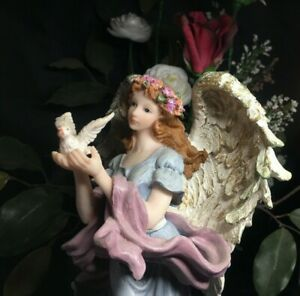 "Vintage Angel Figurine Holding Dove 10"" Hand Painted Christmas Ornament   B707"