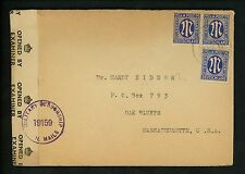 Postal History Germany Scott #3N13a(3) Censored 1946 Neuss Oak Bluffs MA USA
