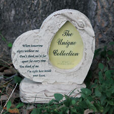 Paw Print Pet Memorial Stone Heart Shaped Tombstone with Backyard Ornaments