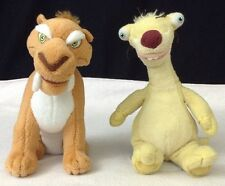 """Ice Age SID The Sloth & Diego Saber TY 2009 Beanie Baby 8"""" Dawn of the Dinosaurs"""