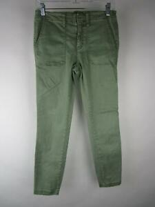 J.Crew Women Solid Green Cotton Low Rise Stretch Slim Skinny Jeans Size 27