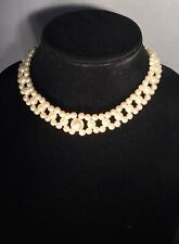 Faux Pearl Choker Necklace 3 Rows Large Center Stone 14 Inches Prom Christmas
