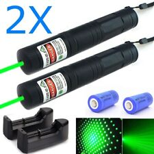 2Pc Green Laser Pointer Pen 532nm Astronomy Lazer+Star Cap+16340 Battery+Charger