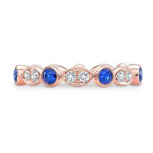 14k Rose Gold Blue Sapphire Bezel Diamond Pave Alternating Band Ring Womens