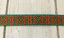 Scandinavian Folk Art Ribbon Hand Woven Orange Green Nordic Heart 5/8