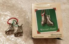 Hallmark Miniature Ornament Winter's Here Skates Pewter, 2002, Excellent!