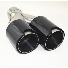 Doppelrohr Auspuffrohr Auspuffblende Kohlefaser 63mm Schwarz Universal - Links