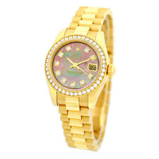 ROLEX 18K Yellow Gold Factory Diamond President Mother of Pearl 179138 Warranty
