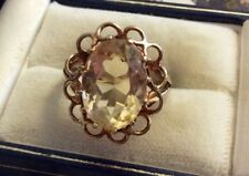 Beautiful Ladies Vintage Hallmarked 9 Carat Gold Citrine Coloured Solitaire Ring