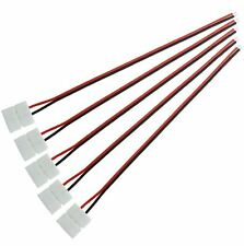 5 X MONO COLORE 10mm 2 PIN LED Striscia Connettore 200mm wire