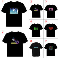 Men Sound Activated LED T-shirt Light Up Down Rock Disco Party DJ Man Tops Tee