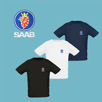 SAAB T Shirt EMBROIDERED Auto Car Logo Tee Gift Sport Mens Clothing Fathers