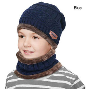 Kids Winter Hat Scarf Set Warm Fleece Balaclava Snow Ski Beanie Cap For Boy Girl