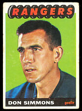 1965 66 TOPPS HOCKEY #88 DON SIMMONS VG NEW YORK N Y RANGERS CARD