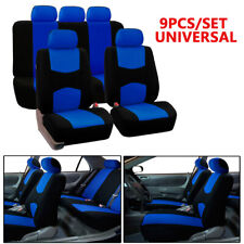 Breathable Blue Universal 9PCS Lowback Flat Cloth Full Set For Car Seat Covers