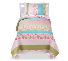 Sheringham Road Cabbage Rose 3 PIECE Quilt Set FULL - PINK WHITE GIRLS SHAMS