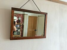 Vintage or Antique Oak Framed Mirror 43.5cm x 33.5cm