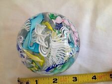 MURANO SCRAMBLE Art Glass Paperweight LATTICINO Ribbons Vetro Artistico, ITALY