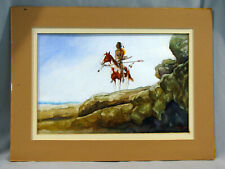NATIVE AMERICAN ON HORSE WATERCOLOR PAINTING - JOHN SPEAAY