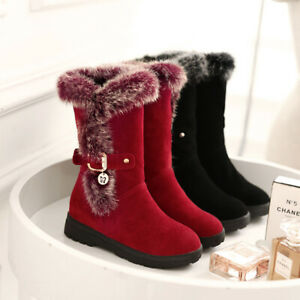 Women Suede Fur Trim Round Toe Mid Calf Winter Warm Boots Casual Shoes Plus Size